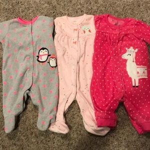 Set of 3 Carter's infant girls sleepers